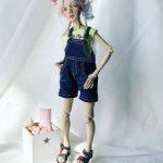 Джинсовые шорты на лямках для Лоры ( куклы 30 см)