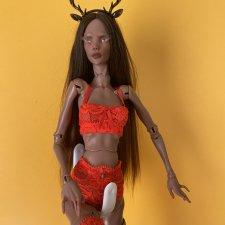 Шикарный сочного алого цвета аутфит для кукол Нины Куриленко