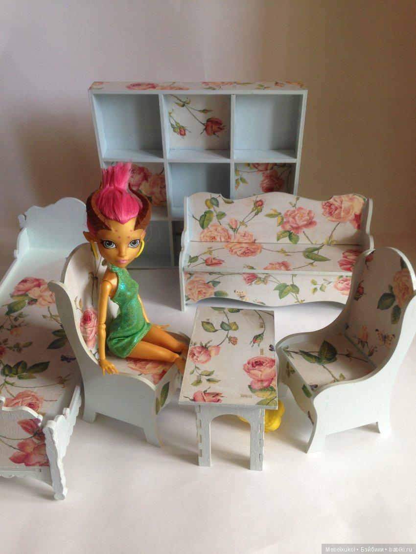 мебель 1:6 из фанеры, расцветка 'Цветы'