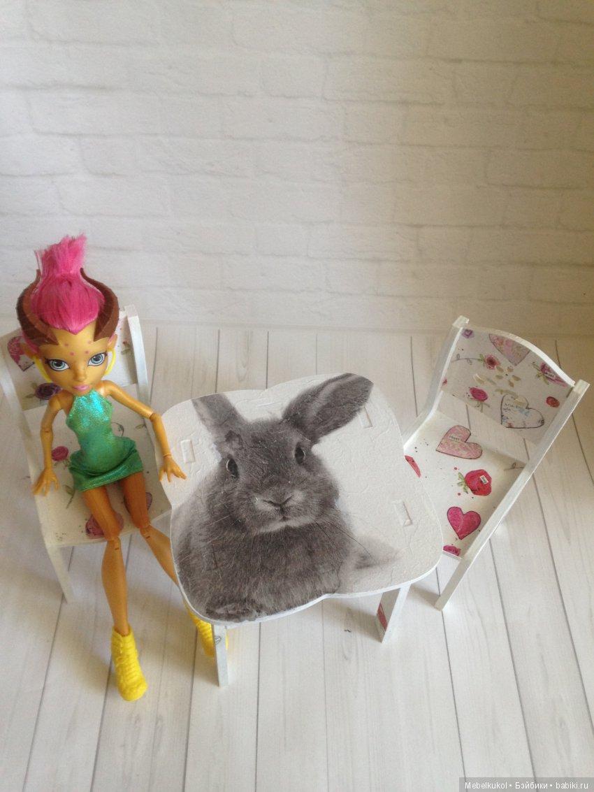 мебель 1:6 из фанеры, расцветка 'Кролик и сердечки'