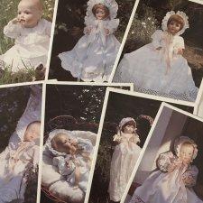 7 листов выкроек одежды для антикварных кукол-малышей,1986,Германия