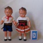 Скидка!! Две куклы ГДР 50-60-е гг 20 века. Маркировка EBE на спине. Высота кукол 17 см.