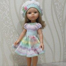 """Комплект """"Розочка"""". Платье и берет для куклы Паола Рейна"""
