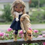 Дизайнерский комплект одежды для Meadow dolls Dumplings и щенок померанца.