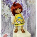 "Платье ""ВЕСЕЛЫЕ КОРОВКИ"" на Twinkles Meadow Dolls/IrrealDoll, Lati Yellow, Dress Pukifee. (15-16 см)"
