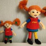 Мягкая кукла Пеппи Длинный чулок 18см и 12 см Швеция