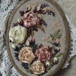 Винтажные розы в технике вышивка лентами