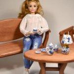 Деревянный чайный столик для кукол barbie, Paola Reina, Monster high