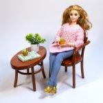 """Набор мебели """"Чайный"""" для кукол 1:6 - чайный столик и венское кресло"""