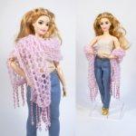 Тонкий вязаный палантин для кукол формата 1\6 ( Barbie, FR, Poppy Parker, Momoko)