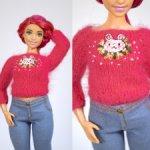 """Вязаный свитер """"Кролик"""" с вышивкой для Barbie, Momoko, Poppy Parker, Integrity toys"""