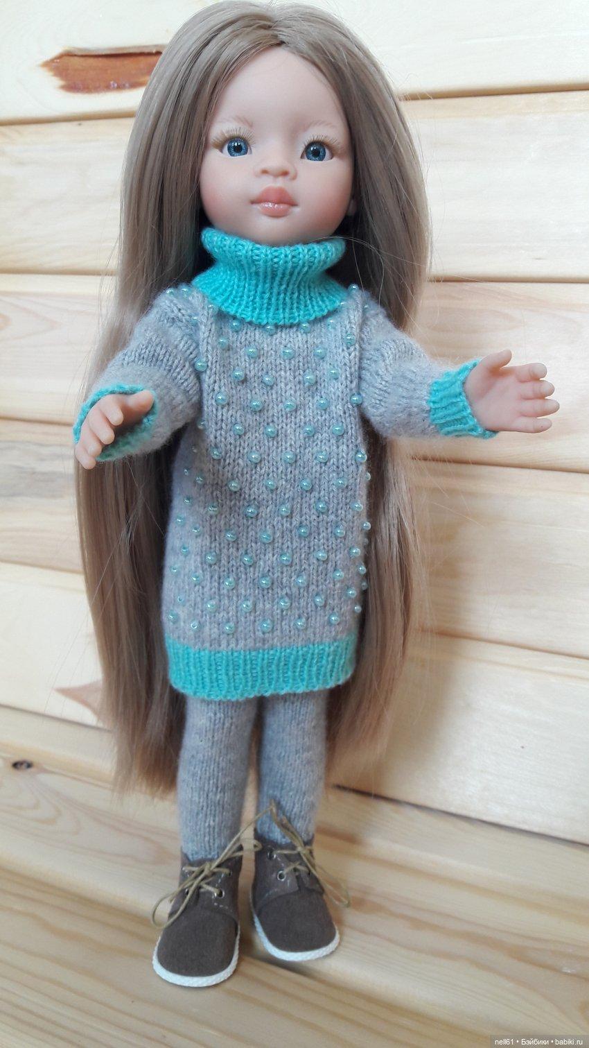 Комплект одежды для кукол Паола Рейна выполнен из кашемира Гоби. Отделка чешским бисером