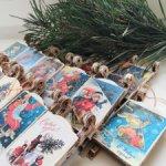 Новогодние саночки - новогодняя подвеска по мотивам открыток В. Зарубина