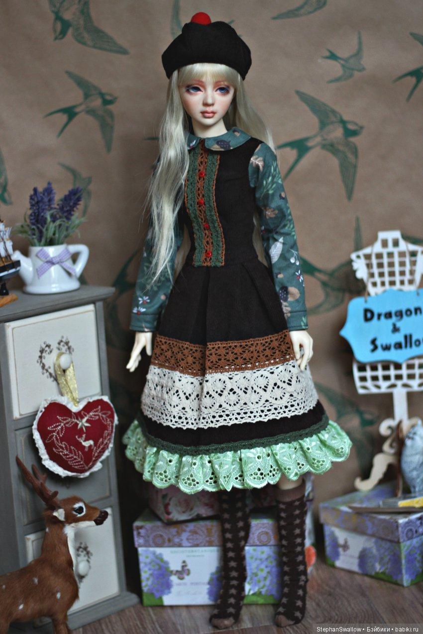 Мори комплект для девочки SD13: платье, берет, гольфы.