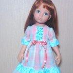Нежное платьице для кукол Готц, Цвергназе 48-50 см