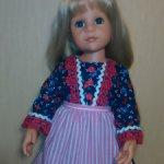 Платье с фартуком для кукол Готц, Цвергназе 48-50 см