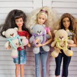 Вязаные мишки для кукол