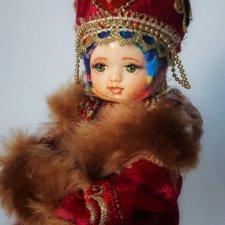 """Интерьерная кукла """"Юная княжна """" в зимнем наряде"""