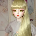 Парик блонд прямой с челкой на куклу 60-63 см