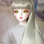 Парик светло серый с челкой на куклу 60-63 см