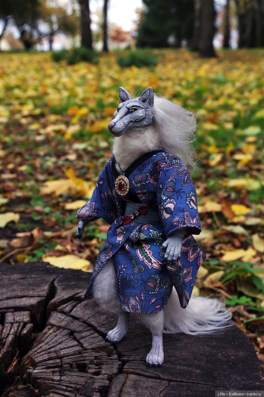 Авторская каркасная кукла Волк в кимоно