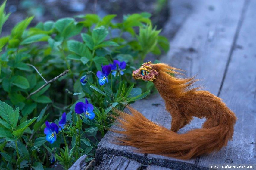 Авторская каркасная игрушка Рыжий лесной дракончик