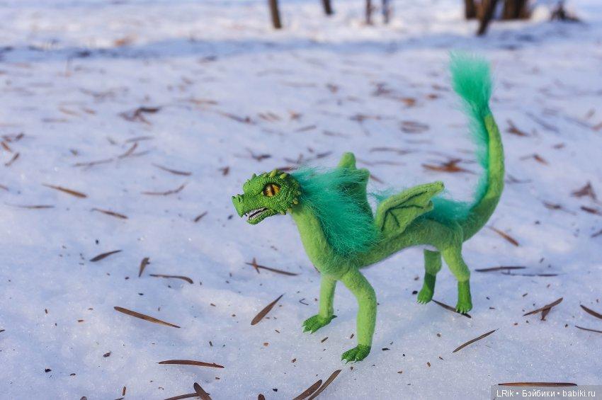 Каркасная игрушка Зеленый дракон