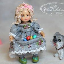 Ватная игрушка Девочка с крашеными яйцами