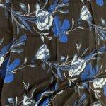Вискоза креп шифон  черная с синими цветами