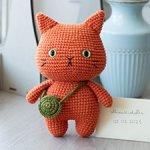 Вязаный рыжий котик с сумочкой