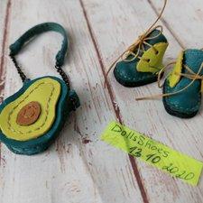 "Блайз Blythe ботинки сумочка ""Авокадо"" для куклы"