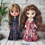 Blythe длинное винтажное платье для куклы Блайз