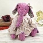 Лилу девочка слоненок тедди из лилового винтажного плюша