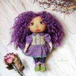 Лавандовая текстильная кукла авторская