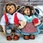 Ёжики Мекки и Микки интерьерные авторские куклы