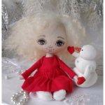 Сонечка и Снеговик. Текстильные куклы.