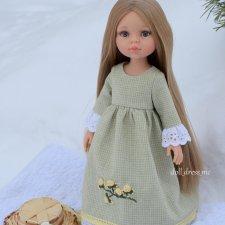 Светло-зеленое платье для куклы Паола Рейна и подобных