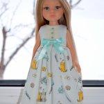 Платье макси из американского хлопка для кукол Паола Рейна и подобных