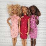 Розовое ажурное платье для куклы Барби