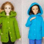 Кардиган с капюшоном и карманами для кукол Барби
