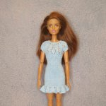 Платье с круглой кокеткой для куклы Барби