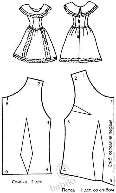 Выкройка юбки для кукол барби