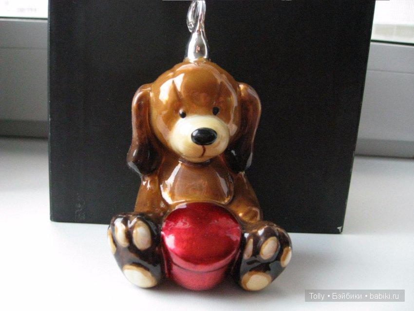 Елочные игрушки собака стекло