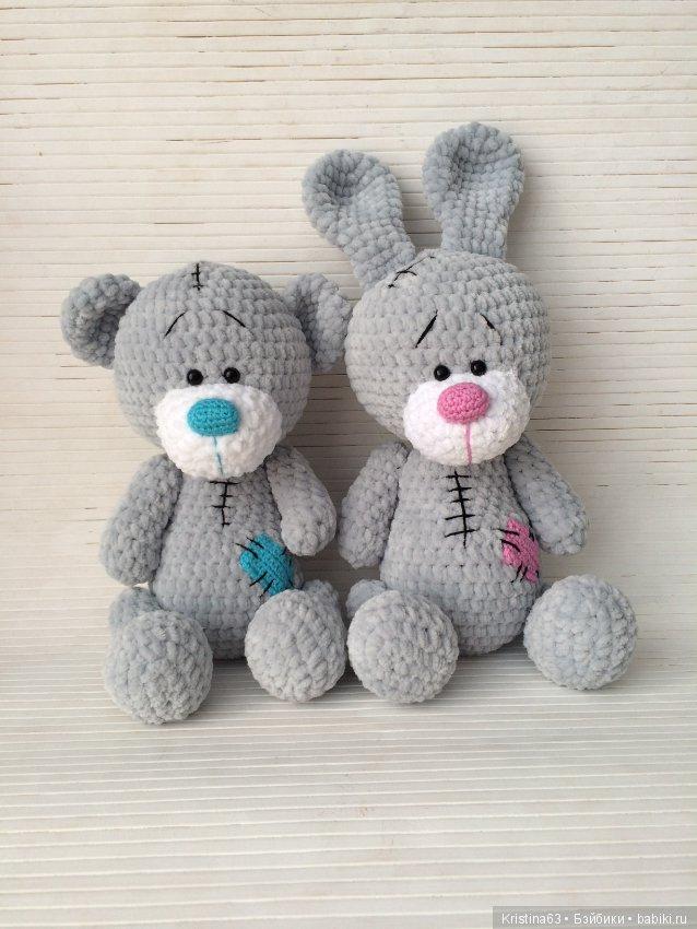 вязаные мишка и зайка авторские игрушки шопик продать купить
