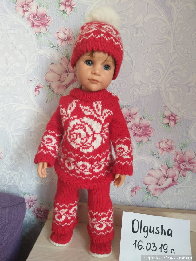 12655f2416e Яркий вязаный костюмчик с норвежским узором   Одежда для кукол ...