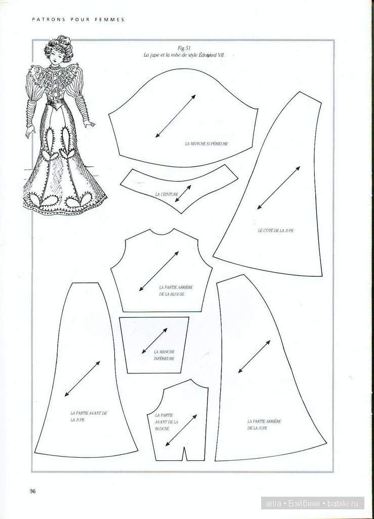 Выкройка старинные платья для куклы